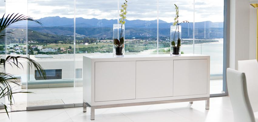 Side Board Lacquered with Stainless Steel
